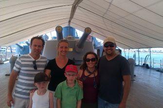Us with the Higgins on a WWI Greek Battleship : July 2013 visit