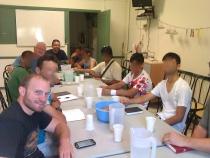 Men's Discipleship (Frank teaching 1 Jn, Kenn on left)