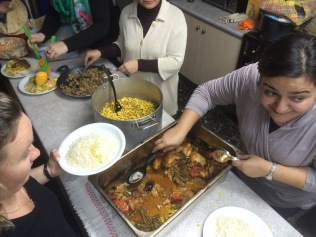 Sahar & Suzie serving Persian meal for seekers study...
