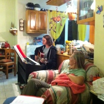 Our student Abbey leading worship at their mid-week study on Crete.