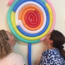 Sahar and Suzie being goofy....yes it's a fake lollipop that the church made for Sahar's birthday :)