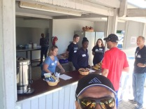 Working the concession stand at the high school track meet.