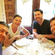 Eating with my co-workers at the oldest restaurant in Europe, while in Spain for work.